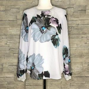ASOS grey floral pullover blouse